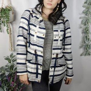 LOFT blue white stripe cotton utility jacket 975